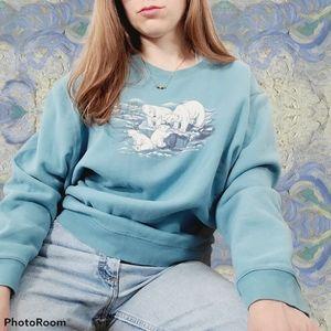 Vintage Polar Bear Blue Crewneck Cozy Sweater XXL